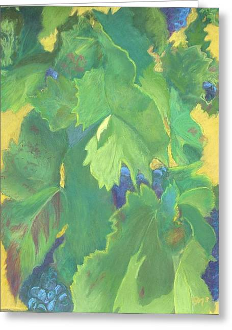Grape Leaves Pastels Greeting Cards - Ready for Harvest Greeting Card by Marilyn Mull