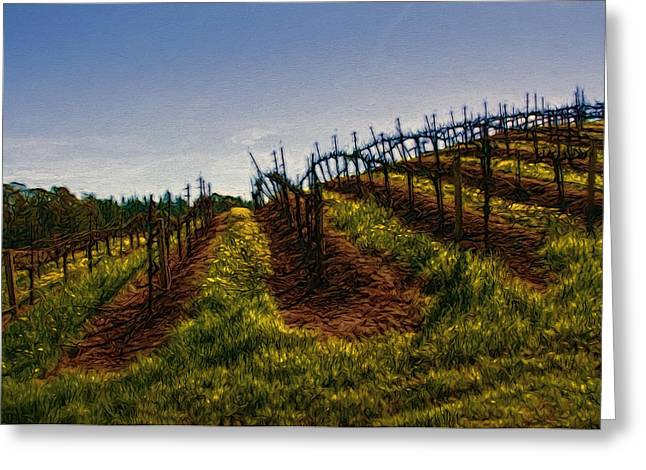 Vineyard Landscape Mixed Media Greeting Cards - Ready for Spring Greeting Card by John K Woodruff