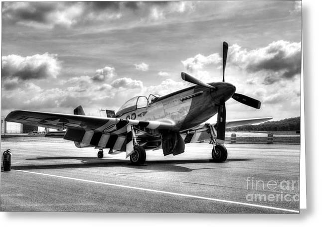P-51 Mustang Photographs Greeting Cards - Ready For Takeoff BW Greeting Card by Mel Steinhauer