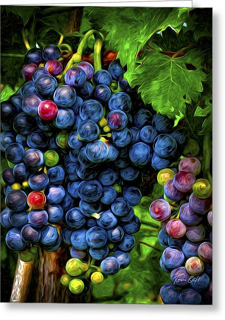 Bunch Of Grapes Paintings Greeting Cards - Ready for Wine Greeting Card by Tom Bell