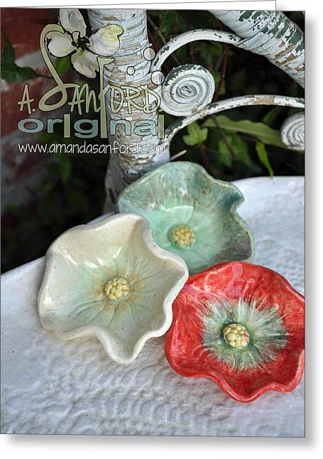 Handbuilt Ceramics Greeting Cards - Ready Get Set Greeting Card by Amanda  Sanford