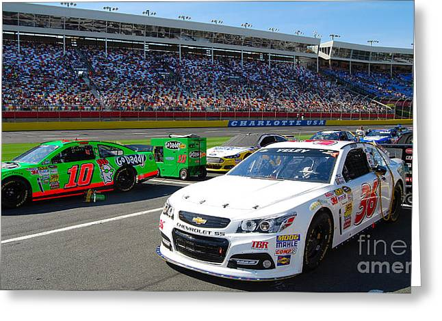 Ready In Pit Row Greeting Card by Mark Spearman