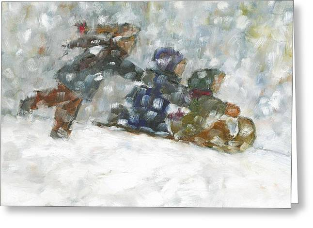 Recently Sold -  - Tobogganing Greeting Cards - Ready Set Go Greeting Card by David Dossett