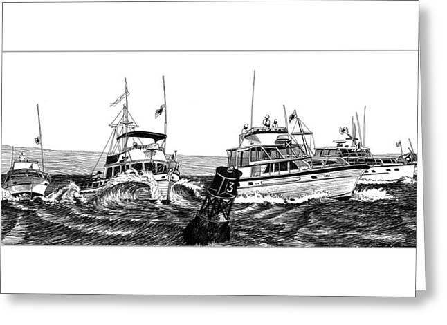 Puget Sound Drawings Greeting Cards - Predicted Log Racing Ready Set Mark Greeting Card by Jack Pumphrey