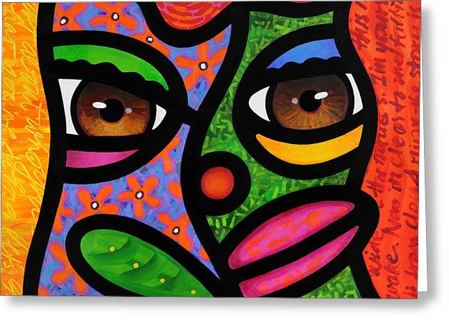 Abstract Faces Greeting Cards - Ready to Blossom Greeting Card by Steven Scott