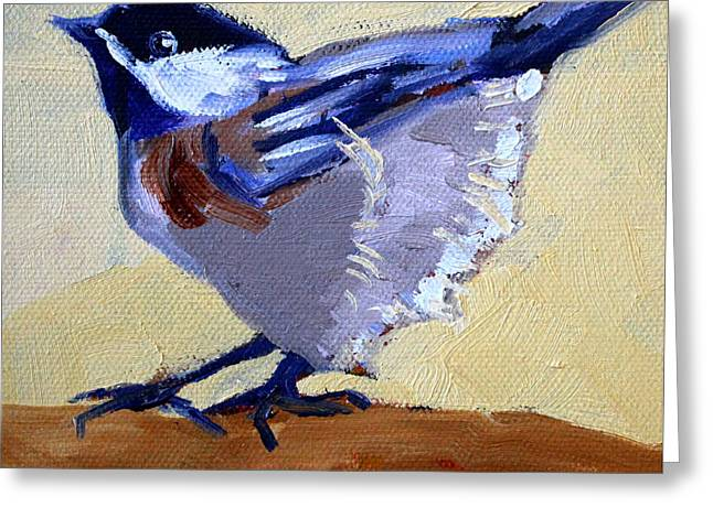 Square Format Paintings Greeting Cards - Ready to Fly Greeting Card by Nancy Merkle