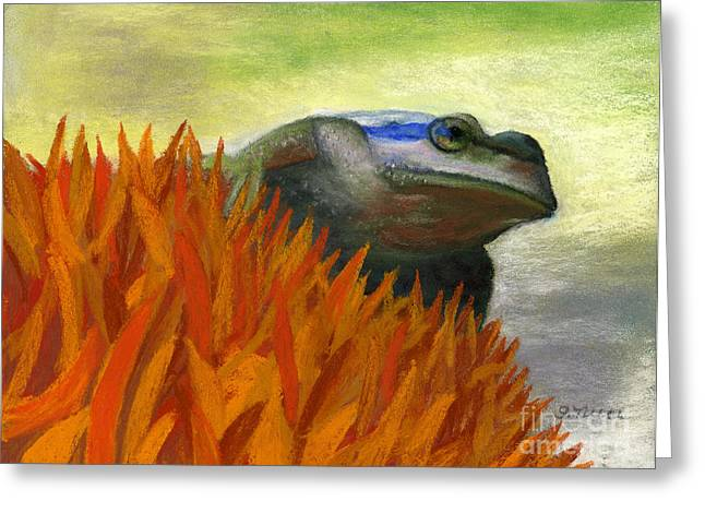 Amphibians Pastels Greeting Cards - Ready to Jump Greeting Card by Ginny Neece