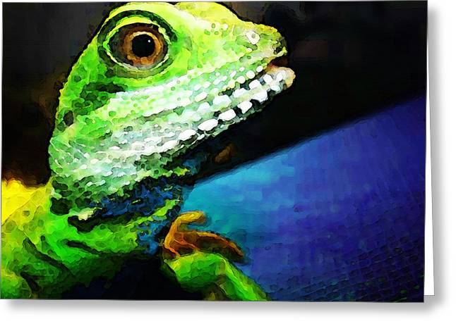 Gecko Print Greeting Cards - Ready To Leap - Lizard Art By Sharon Cummings Greeting Card by Sharon Cummings