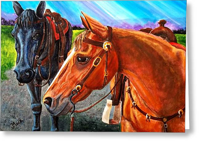Rosette Paintings Greeting Cards - Ready to Ride Greeting Card by Joan Mace
