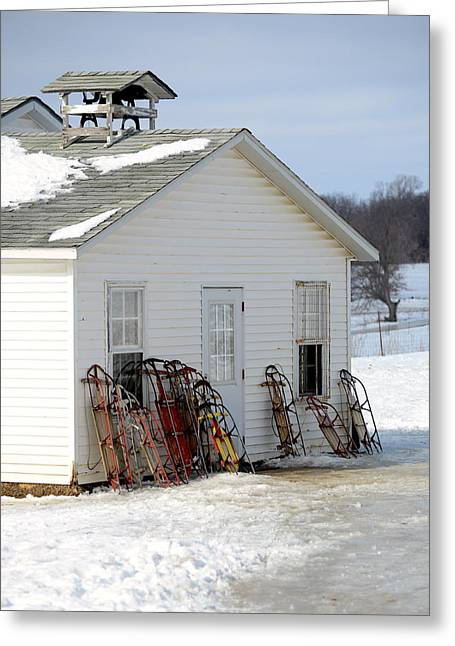 Country Schools Photographs Greeting Cards - Ready to Ride Greeting Card by Linda Mishler