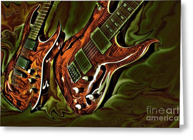 Acoustical Digital Art Greeting Cards - Ready To Rock DIgital Guitar Art by Steven Langston Greeting Card by Steven Lebron Langston
