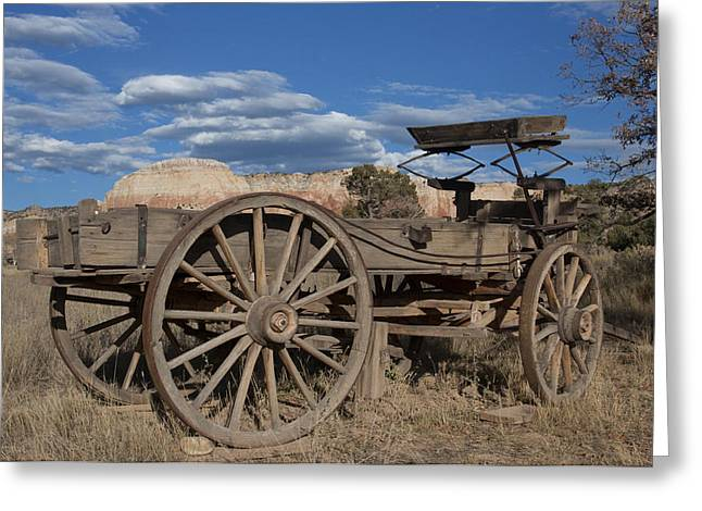 Wooden Wagons Greeting Cards - Ready to roll Greeting Card by Elvira Butler