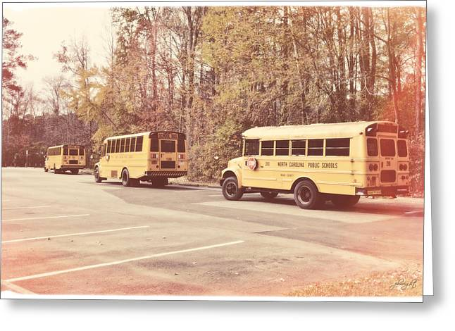 School Bus Print Greeting Cards - Ready To Roll Greeting Card by Paulette B Wright