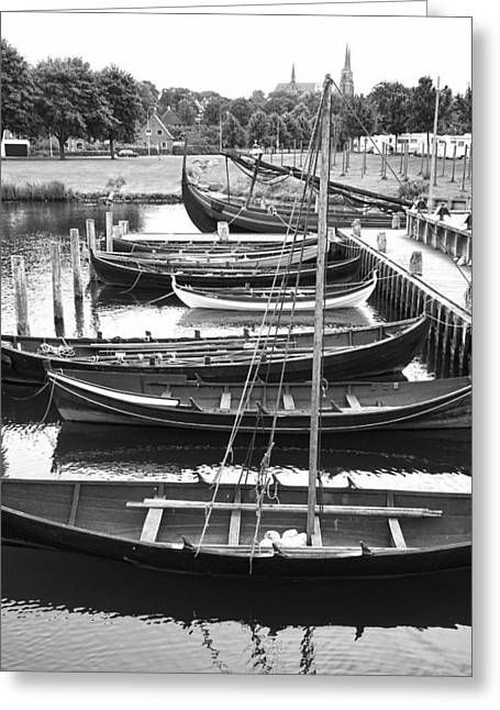 Sailboats Docked Greeting Cards - Ready to Row BW Greeting Card by Jenny Hudson