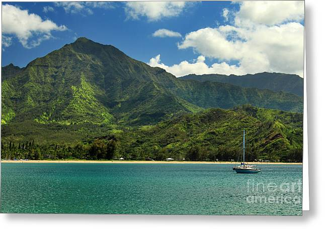 Sailboat Ocean Greeting Cards - Ready To Sail In Hanalei Bay Greeting Card by James Eddy
