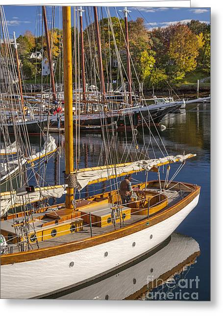Readying For An Autumn Sail Greeting Card by Brian Jannsen