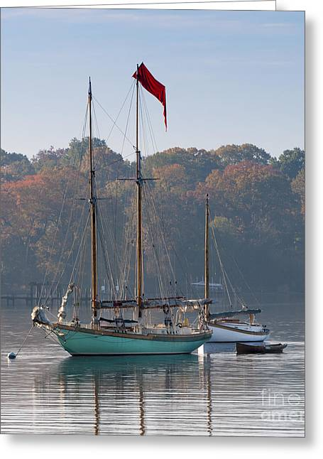 Historic Ship Greeting Cards - Readying for the Day Greeting Card by Lauren Brice