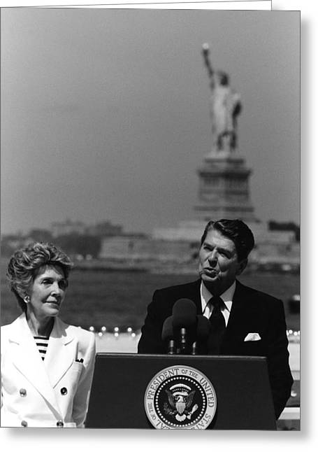 Liberty Island Greeting Cards - Reagan Speaking Before The Statue Of Liberty Greeting Card by War Is Hell Store