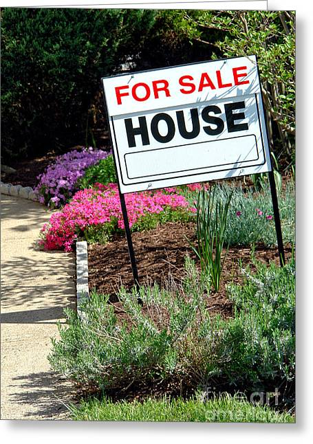 Broker Greeting Cards - Real Estate For Sale Sign and Garden Greeting Card by Olivier Le Queinec