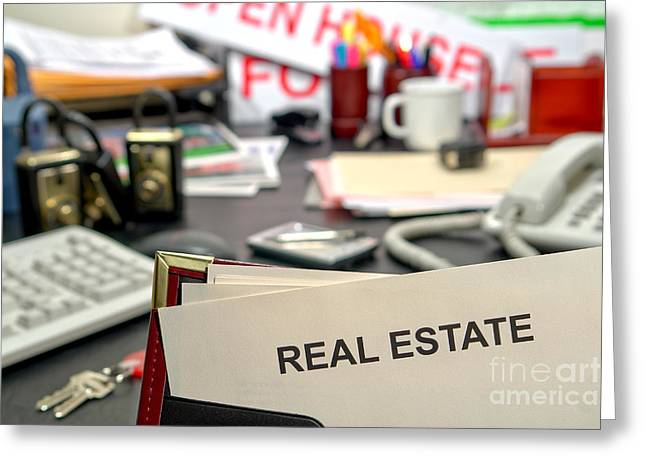 Paperwork Greeting Cards - Real Estate Greeting Card by Olivier Le Queinec