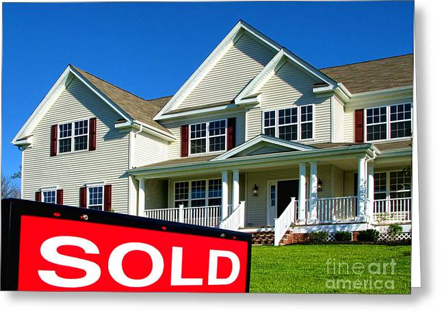 Insert Greeting Cards - Real Estate Realtor Sold Sign and House for Sale Greeting Card by Olivier Le Queinec
