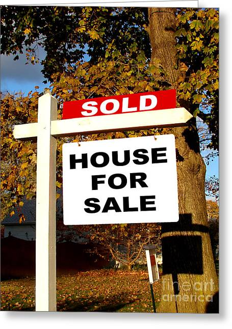 Broker Greeting Cards - Real Estate Sold and House For Sale Sign on Post Greeting Card by Olivier Le Queinec