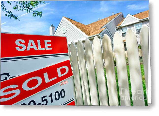 Transactions Greeting Cards - Real Estate Sold Sign Greeting Card by Olivier Le Queinec