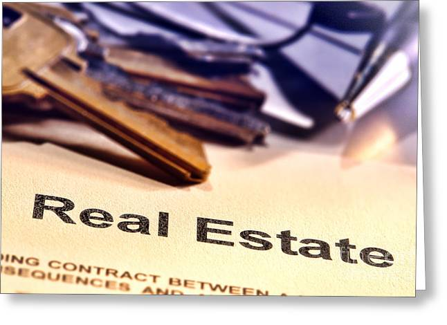 Broker Greeting Cards - Real Estate Title Word on a Realtor Contract Page Greeting Card by Olivier Le Queinec
