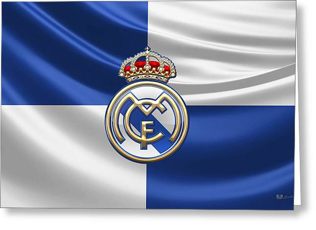 Sports Decor Greeting Cards - Real Madrid CF - 3D Badge over Flag Greeting Card by Serge Averbukh