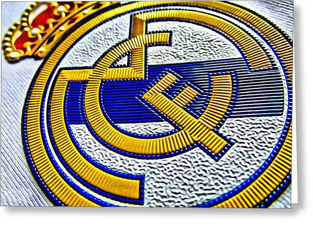 Division Greeting Cards - Real Madrid Poster Art Greeting Card by Florian Rodarte
