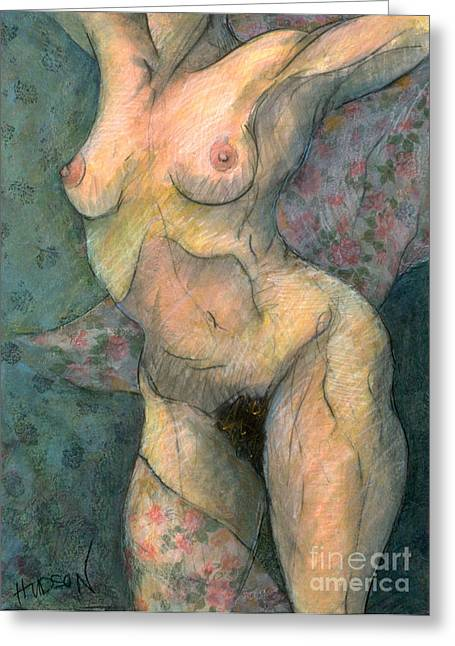 Windy Pastels Greeting Cards - realistic figure painting - Woman in the Wind Greeting Card by Sharon Hudson