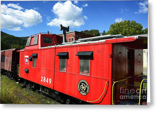 Caboose Greeting Cards - Really Red Caboose Greeting Card by Thomas R Fletcher