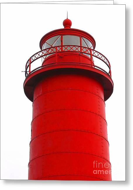 Ann Horn Greeting Cards - Really Red Lighthouse Greeting Card by Ann Horn