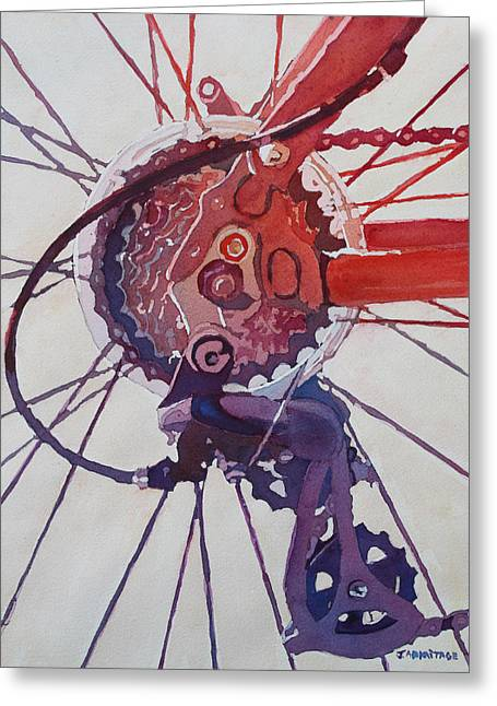 Gear Paintings Greeting Cards - Rear Derailleur Greeting Card by Jenny Armitage