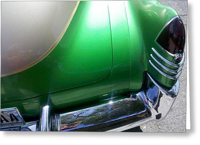 Rally Greeting Cards - Rear Emerald Greeting Card by FlyingFish Foto