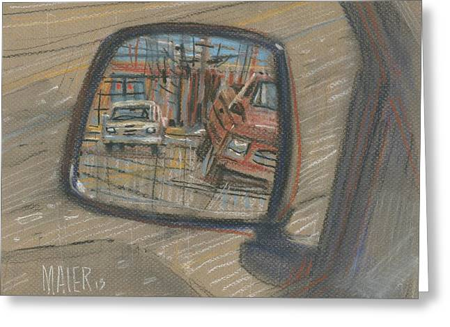 Mirror Greeting Cards - Rear View Greeting Card by Donald Maier