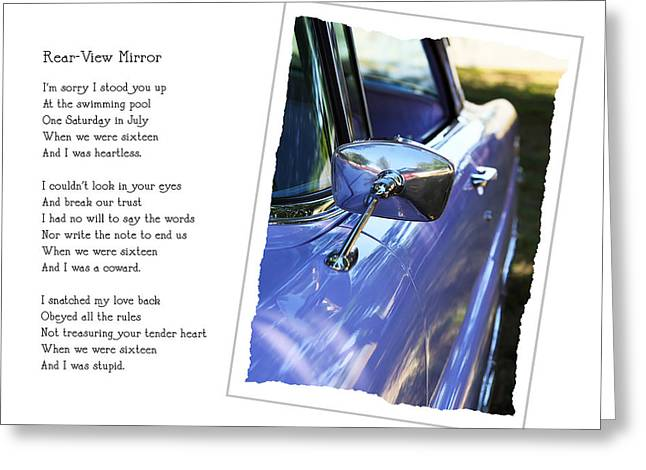 Collaboration Greeting Cards - Rear-View Mirror Greeting Card by Rebecca Cozart