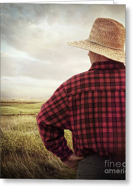 Boy Wearing A Hat Greeting Cards - Rear view of a farmer looking at his land Greeting Card by Sandra Cunningham