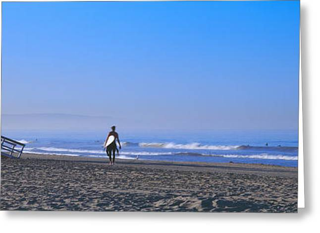 Stilt House Greeting Cards - Rear View Of A Surfer On The Beach Greeting Card by Panoramic Images
