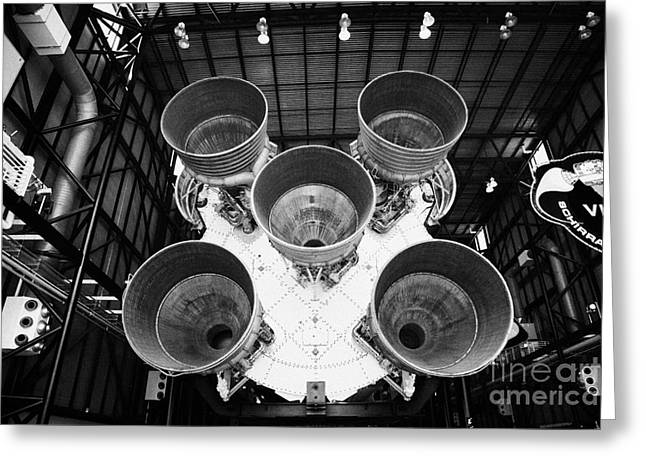 Kennedy Space Center Greeting Cards - rear view of engines of the saturn five rocket in the apollo saturn v center at Kennedy Space Center Greeting Card by Joe Fox