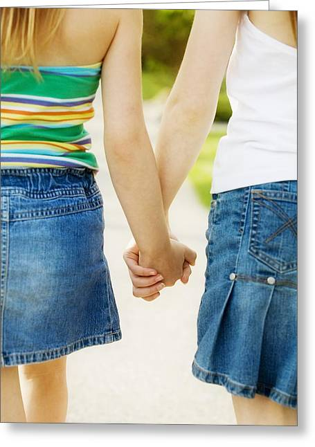 Preteen Greeting Cards - Rear View Of Girls Holding Hands Greeting Card by Design Pics RF