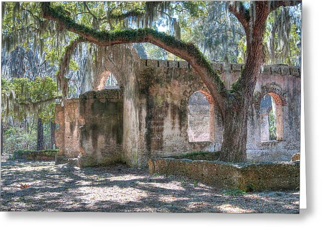 St. Helena Island Greeting Cards - Rear View of the Chapel Of Ease Greeting Card by Scott Hansen