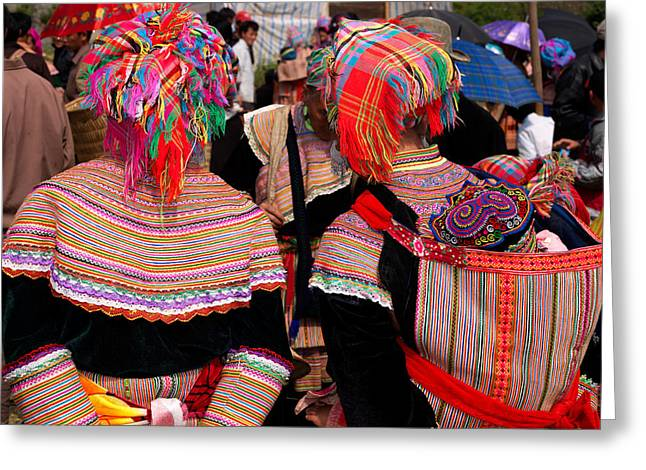 Sunlight On Flowers Greeting Cards - Rear View Of Two Flower Hmong Women Greeting Card by Panoramic Images