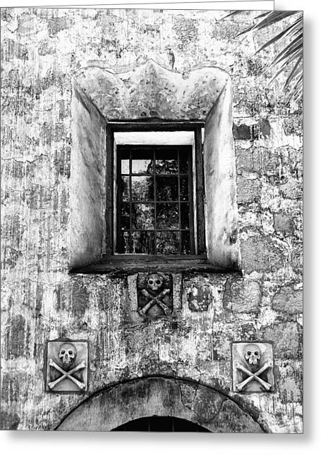 Featured Art Greeting Cards - REAR WINDOW BW Santa Barbara Greeting Card by William Dey