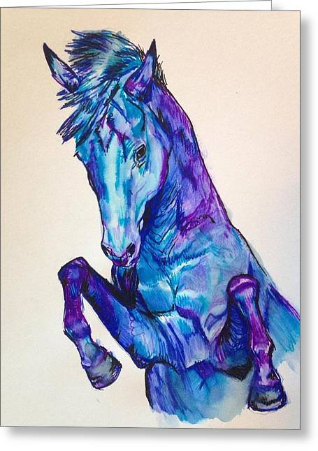 Quarter Horses Drawings Greeting Cards - Rearing Horse Watercolor Greeting Card by Mary Erickson
