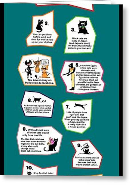 Activism Greeting Cards - Reasons to Love a Black Cat Infographic Greeting Card by Pet Serrano