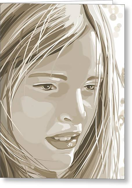 Girl Face Greeting Cards - Rebecca Greeting Card by Veronica Minozzi