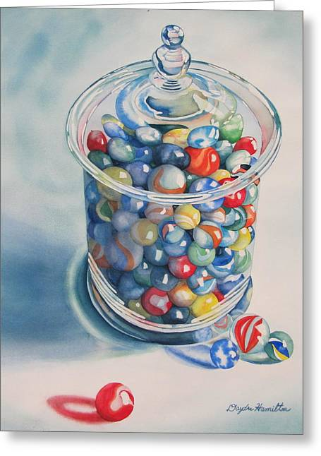 Marble Eye Paintings Greeting Cards - Rebeccas Marbles Greeting Card by Daydre Hamilton