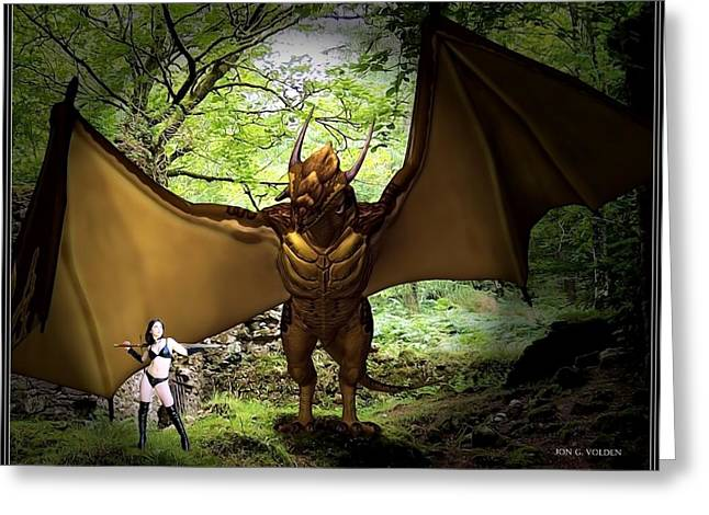 Dungeons And Dragons Greeting Cards - Rebel And The Dragon Greeting Card by Jon Volden