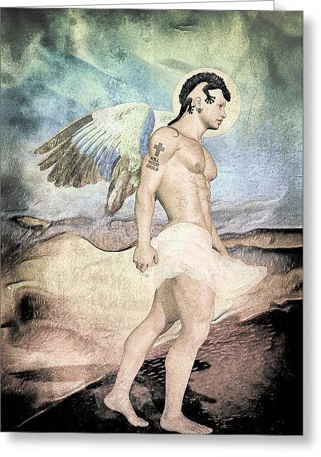 Stud Drawings Greeting Cards - Rebel Angel By Quim Abella Greeting Card by Joaquin Abella